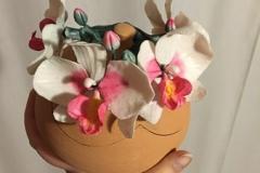 Cofanetto in ceramica decorato con orchidee in porcellana fredda